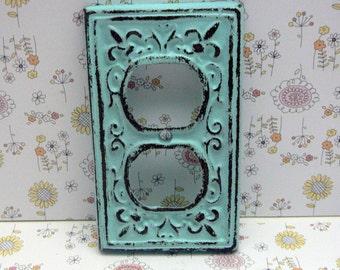 Fleur de lis Cast Iron FDL Plug Cover Cottage Chic Beach Blue Home Decor