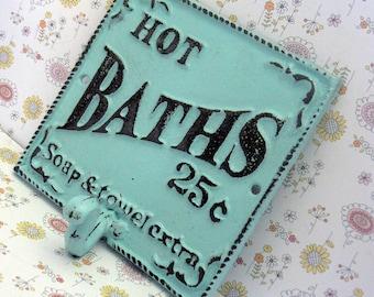 Hot Baths 25 Cents Soap Towels Extra Wall Hook Shabby Chic Blue Bathroom Decor