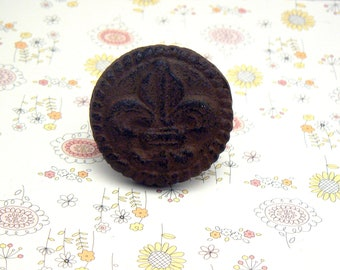 Fleur de lis Cast Iron Round Drawer Pull Knob Cabinet Knobs Rustic Decor Shabby Unpainted Do It Youself DIY
