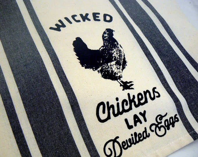 Farmhouse Chicken Hand Towel Wicked Chickens Lay Deviled Eggs Tea Towel