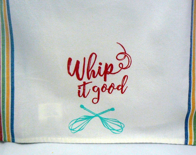 Whip It Good Hand Towel Cotton Tea Towel Red Yellow Blue Green Retro Stripe Kitchen