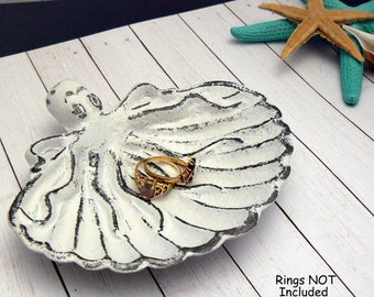 Octopus Ring Dish White Shabby Chic Trinket Entryway Key Jewelry Holder