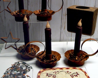 Primitive Home Decor Lot Drip Flicker Candle Grunge Candlestick Holder Pip Berry Ring Pot Holder Sugar Mold Country Chic Farmhouse Rustic
