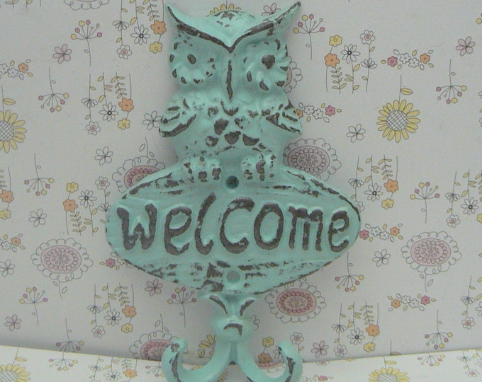 Owl Welcome Wall Hook Shabby Chic Beach Blue Cast Iron Leash Keys Mudroom Key Woodland Rustic Home Decor