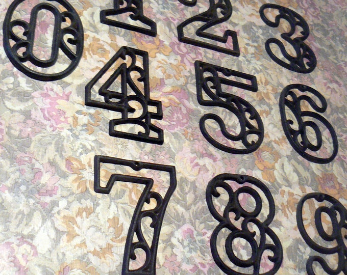 House Mailbox Numbers 4.5 Inch Raw Natural Metal Victorian Swirl Unpainted DIY Address Accent Table Marker Numbers
