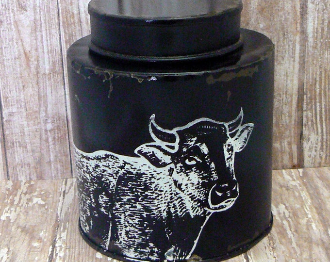 Cow Primitive Farmhouse Chippy  Tin Can Black Shabby Country Chic Kitchen Chalk Couture