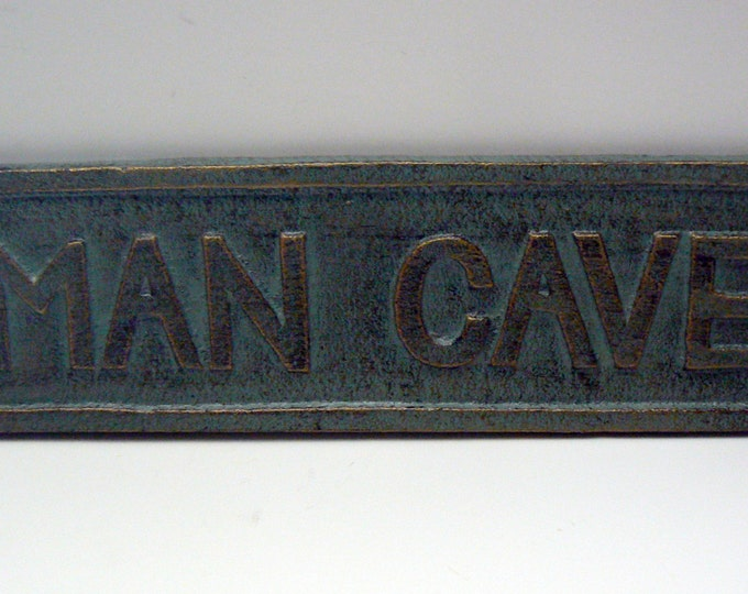 """Man Cave Sign Plaque 8 1/4"""" x 2 1/8""""  Mancave Patina Color w/ Variegated Gold Highlights Raised Letters Man Room Wall Door Decor"""
