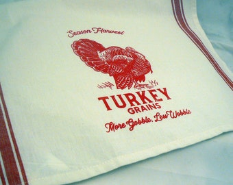 Farmhouse Hand Towel Turkey Grains More Gobble Less Wobble Red Retro Striped Off White Cotton Kitchen Towel