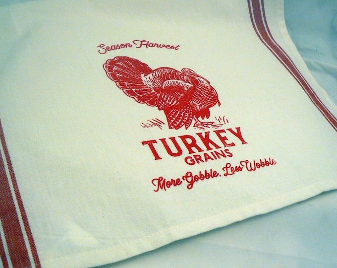 Farmhouse Hand Towel Turkey Grains More Gobble Less Wobble Red Retro Striped Off White Cotton Kitchen Towel