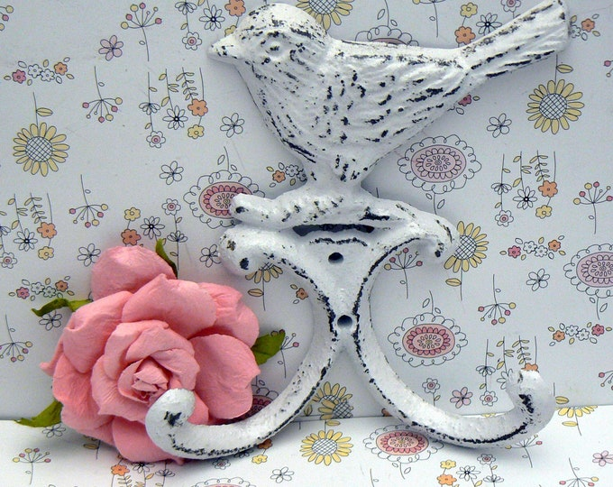 Bird Wall Hook Cast Iron White Shabby Chic Home Decor