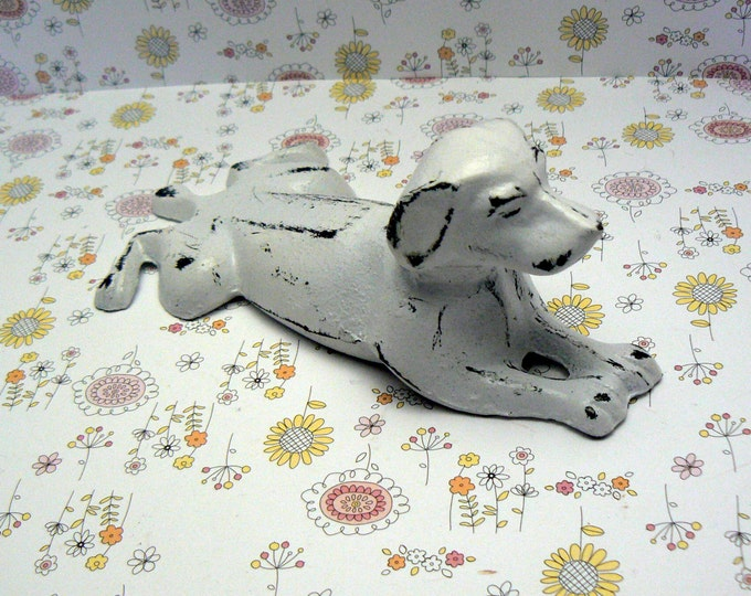 Dog Door Stop Cast Iron Shabby Chic White  Doorstop Dachshund Home Decor
