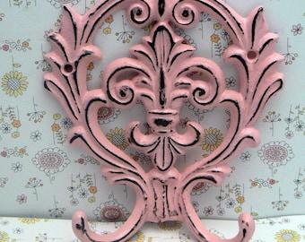 Fleur de lis Cast Iron FDL Shabby Chic Pink Wall Hook Home Decor