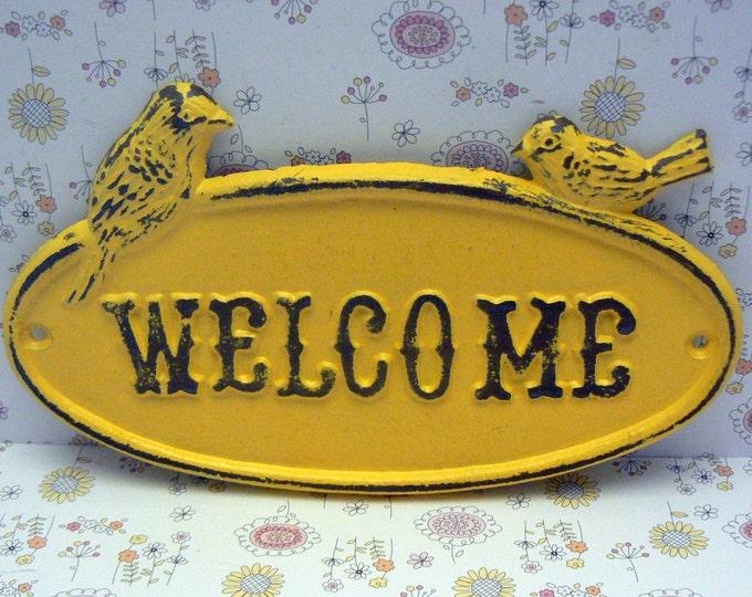 Bird Welcome Sign Cast Iron Sign Shabby Elegance Sunny Lemon Yellow Distressed Double Birds Garden Door Greeting Wall Plaque