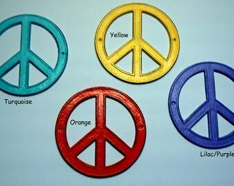 Retro Peace Sign Metal Cast Iron Bohemian Rustic Retro Funky 70's Shabby Wall Art Choose fr 4 Boho Chic Color Turquoise Yellow Orange Purple