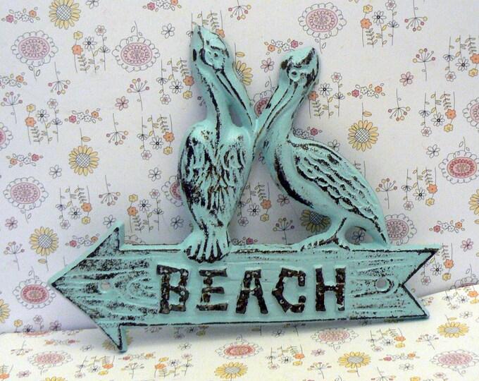 Pelican Beach Arrow Door Sign Blue Shabby Chic Cottage Chic Nautical Beach Condo Home Decor