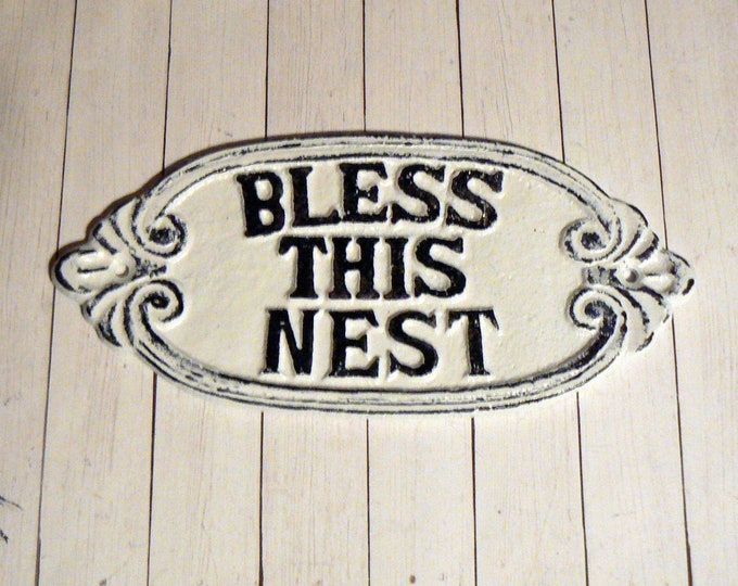 Bless This Nest Sign Cast Iron Metal Welcome Sign Classic White Wall Entryway Door Plaque Shabby Chic Distressed New House Warming Gift