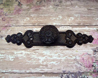Floral Fleur Knob Backplate Cast Iron Cabinet Drawer Pull Shabby Chic Natural Unpainted DIY