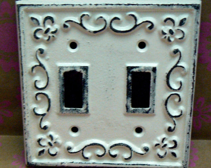 Fleur de lis Cast Iron FDL Light Switch Double Cover Shabby Chic Off White Home Decor
