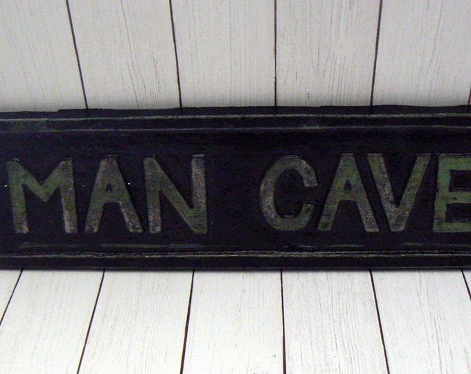 "Man Cave Sign Plaque 8"" 1/4 x 2"" 1/8  Mancave Black Sign"