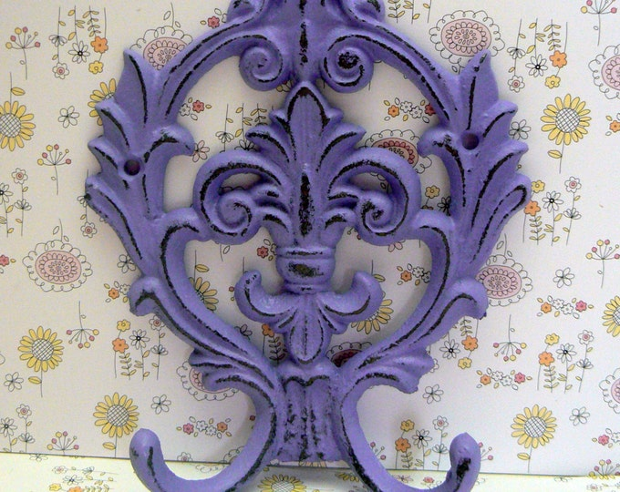 Fleur de lis Cast Iron FDL Shabby Chic Purple Lavender Wall Hook Home Decor