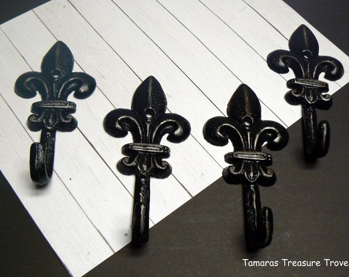 Fleur de lis Cast Iron Shabby Chic Black Mini FDL Set 4 Wall Hooks Home Decor
