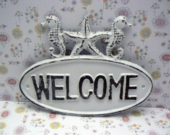 Seahorse Starfish Welcome Cast Iron Door Sign White Shabby Chic Cottage Chic Beach Home Decor