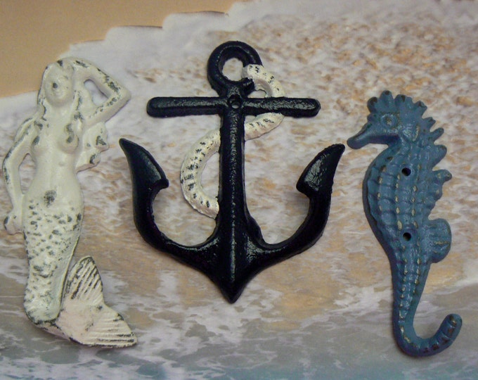 Mermaid Anchor Seahorse Cast Iron Wall Hook Set of 3 Navy White Periwinkle Blue Shabby Cottage Chic Home Decor