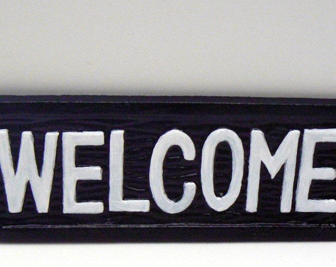 Welcome Sign Cast Iron Black White Front Door Entryway Plaque