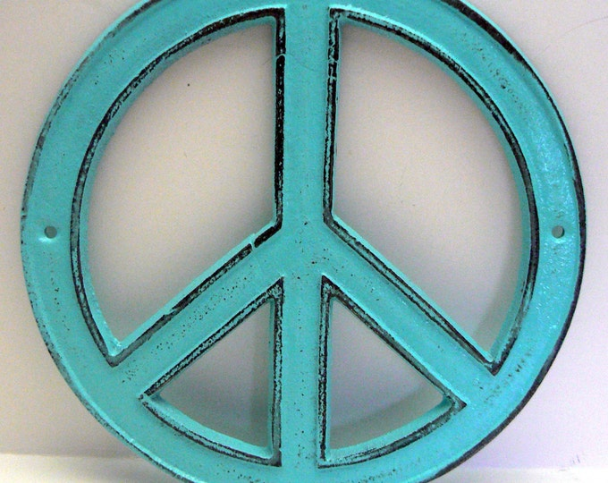 Peace Sign Cast Iron Turquoise Wall Art Shabby Chic Retro 70's Home Decor