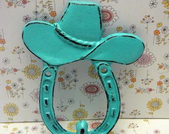 Cowboy Hat Horseshoe Cast Iron Hook Turquoise Shabby Chic Home Decor