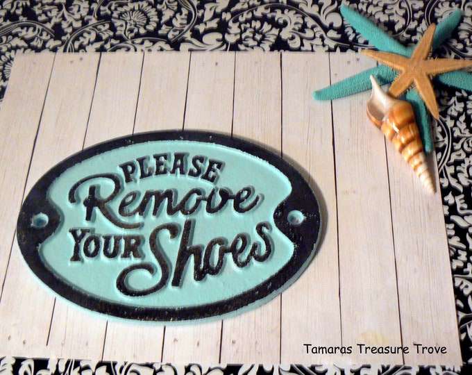 Please Remove Your Shoes Metal Light Blue Wall Entryway Beach Door Shabby Chic