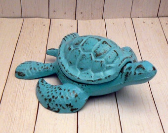 Turtle SeaTurtle Trinket Covered Dish Shabby Chic Hide a Key Nautical Beach Porch Entryway Dish