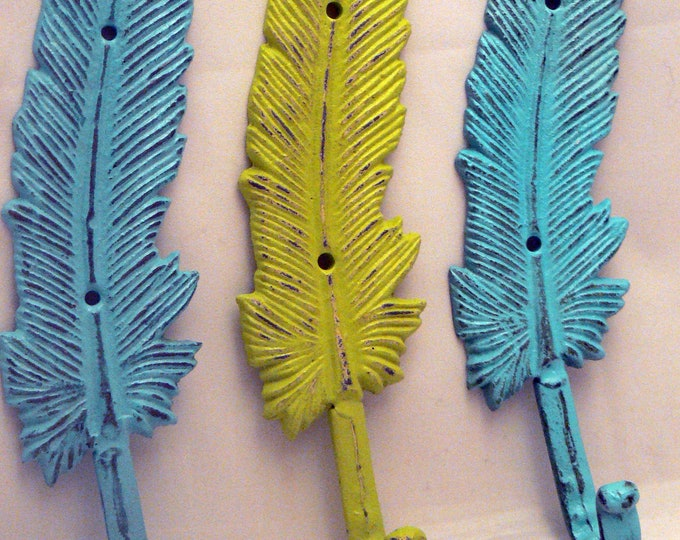Feather Boho 3 Wall Hook Set Turquoise Shabby Chic Bohemian Home Decor
