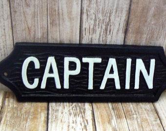 Captain Cast Iron Sign Black White Nautical Home Decor