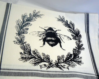 BumbleBee Hand Towel Hive Laurel Wreath Honey Bee Kitchen Towel Black