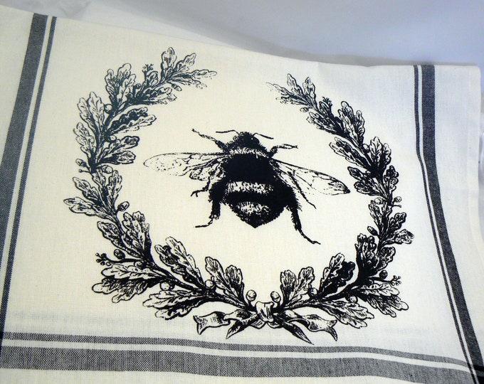 BumbleBee Hand Towel Honey Bee Hive Wreath Trimmed Cotton Tea Towel Black