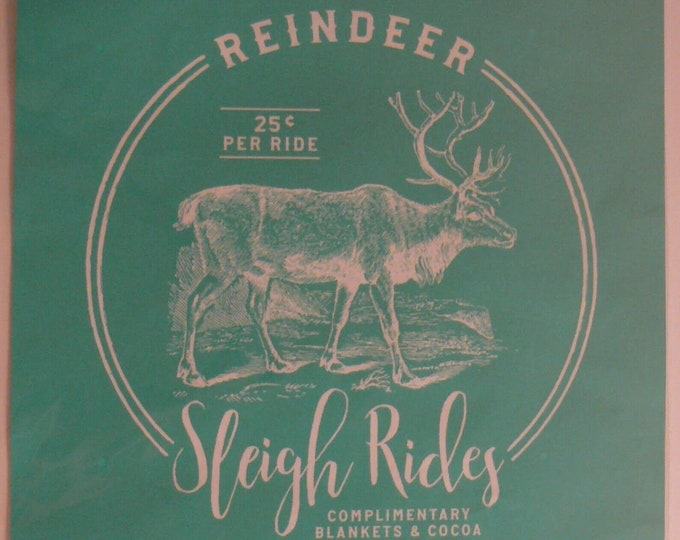 Chalk Couture Reindeer Sleigh Rides Unused Transfer Silkscreen Reusable Stencil DIY Christmas 25 Cents Per Ride Holiday Decor