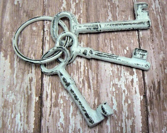 Jailer Keys 3 on Ring Cast Iron Shabby Chic French Country Prop Home Decor