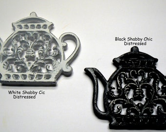 Teapot Cast Iron Trivet Hot Plate White or Black Shabby Chic Ornate FDL Heart Center Bistro Cafe Kitchen Farmhouse Country Chic Coffee Bar