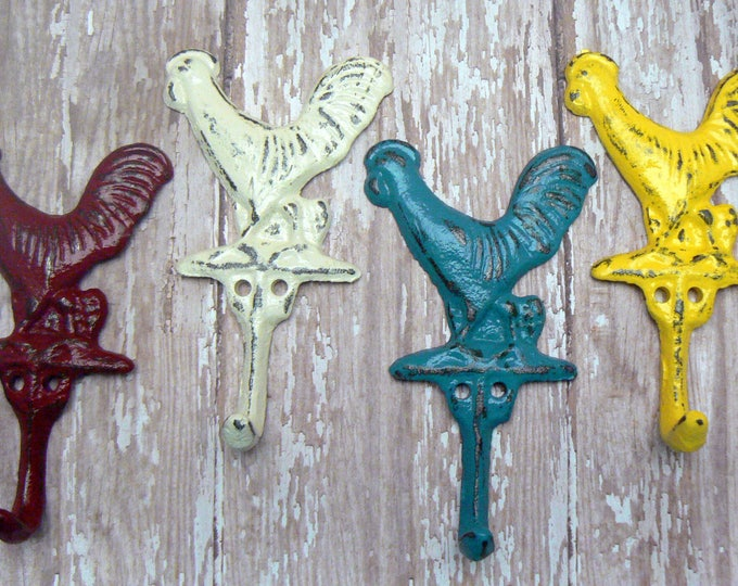 Rooster Set 4 Hooks Cast Iron Shabby Chic MINI Wall Hook Red Off White Blue Yellow