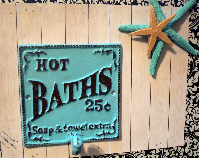 Hot Baths 25 Cents Soap Towels Extra Wall Hook Shabby Chic Blue Bathroom Decor