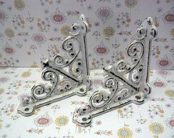 "Shelf Bracket 4"" Mini Cast Iron FDL Ornate Small Shabby Chic White Brace DIY Home Improvement"
