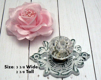 Cabinet Drawer Pull Shabby Chic Medallion Cast Iron WHITE Backplate acrylic Knob French Paris Do It Youself DIY