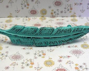 Feather Bohemian Boho Bright Turquoise Aqua Blue Handle Pull Cast Iron Shabby Elegance Cabinet Drawer Retro Funky Southwest 70's Style