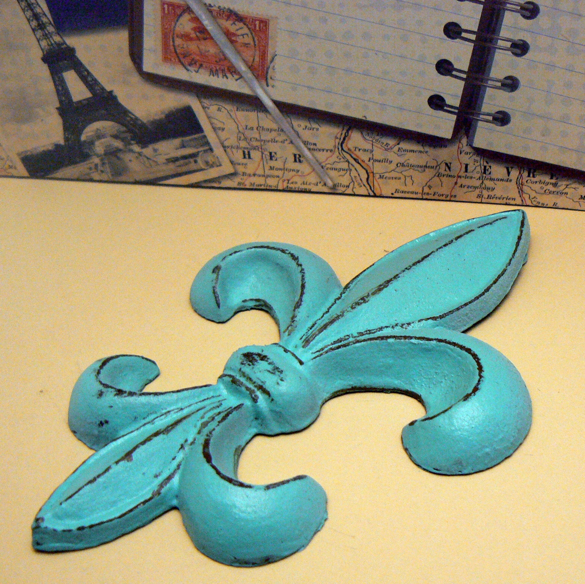 Fleur de lis FDL Cast Iron Turquoise Shabby Chic Wall Art Home Decor