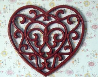 Heart Cast Iron Trivet Hot Plate Colonial Red Shabby Elegance Ornate Swirly Heart Shaped Fleur de lis Center French Country Decor