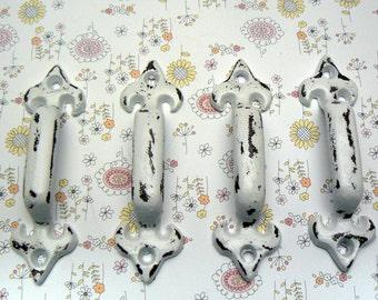Cabinet Drawer Handle Pull Set of 4 Individual Small Cast Iron Pulls White White Fleur de lis FDL Paris Shabby Elegance Do It Yourself DIY