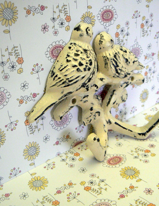 Bird Cast Iron Wall Hook Off White Shabby Chic Nursery Spring Summer ...