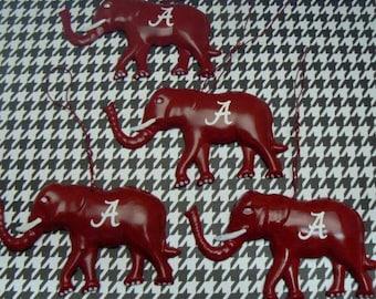 Elephant Christmas Ornament Alabama Dorm Room Crismson Red Letter A Embellishment Set of 4