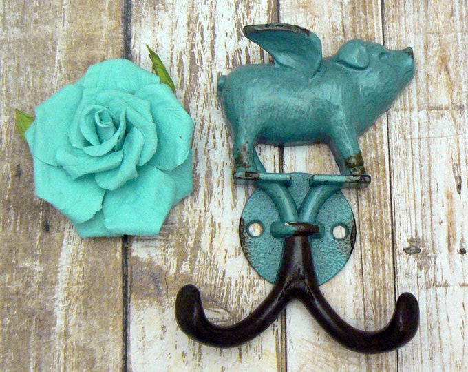 When Pigs Fly Aqua Teal Blue Wall Double Pig Hook Shabby Chic Rustic Farmhouse